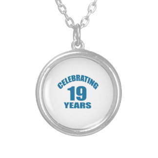 Celebrating 19 Years Birthday Designs Silver Plated Necklace