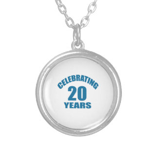Celebrating 20 Years Birthday Designs Silver Plated Necklace