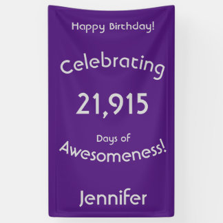 Celebrating 21,915 Days Of Awesomeness Birthday Banner