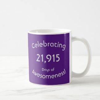 Celebrating 21,915 Days Of Awesomeness Birthday Coffee Mug