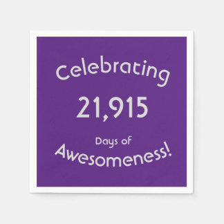 Celebrating 21,915 Days Of Awesomeness Birthday Napkin