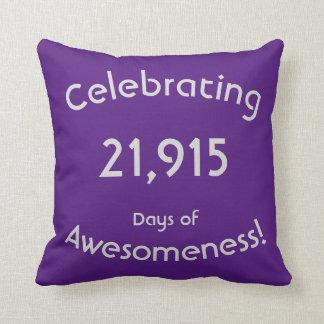 Celebrating 21,915 Days Of Awesomeness Birthday Throw Pillow