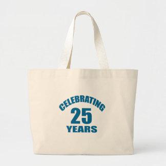 Celebrating 25 Years Birthday Designs Large Tote Bag