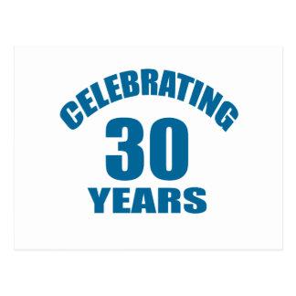 Celebrating 30 Years Birthday Designs Postcard
