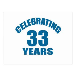 Celebrating 33 Years Birthday Designs Postcard