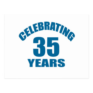 Celebrating 35 Years Birthday Designs Postcard