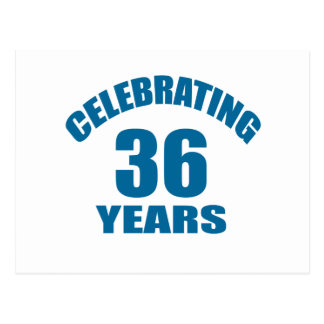 Celebrating 36 Years Birthday Designs Postcard
