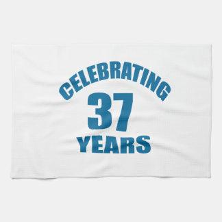 Celebrating 37 Years Birthday Designs Kitchen Towel