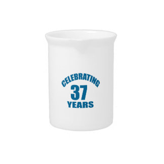 Celebrating 37 Years Birthday Designs Pitcher