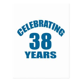 Celebrating 38 Years Birthday Designs Postcard