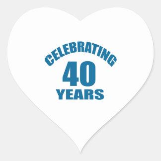 Celebrating 40 Years Birthday Designs Heart Sticker