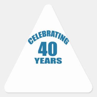 Celebrating 40 Years Birthday Designs Triangle Sticker