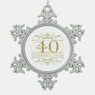 Celebrating 40th Anniversary Snowflake Pewter Christmas Ornament