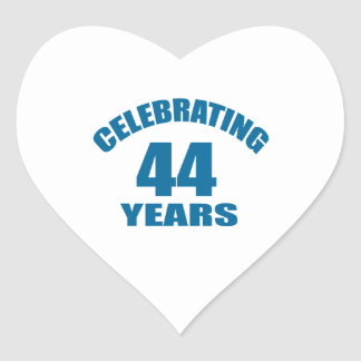 Celebrating 44 Years Birthday Designs Heart Sticker