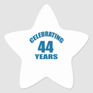 Celebrating 44 Years Birthday Designs Star Sticker