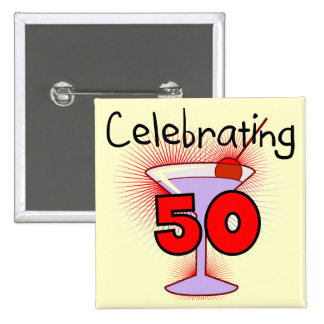 Celebrating 50 Tshirts and Gifts 2 Inch Square Button