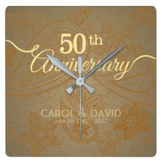 Celebrating 50th Anniversary. Golden Lace. Square Wall Clock