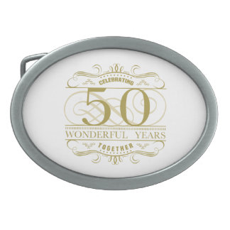 Celebrating 50th Anniversary Oval Belt Buckles