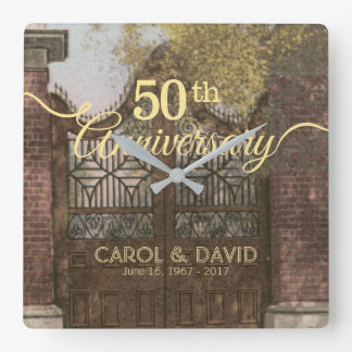 Celebrating 50th Anniversary. Vintage Charleston. Square Wall Clock
