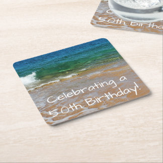 Celebrating 50th Birthday Party Coasters