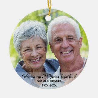 Celebrating 50th Wedding Anniversary Simple Photo Round Ceramic Ornament