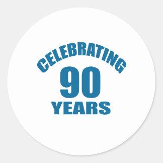Celebrating 90 Years Birthday Designs Classic Round Sticker