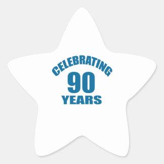 Celebrating 90 Years Birthday Designs Star Sticker