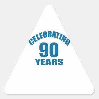 Celebrating 90 Years Birthday Designs Triangle Sticker