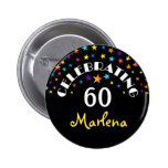 Celebrating a 60th Birthday Stars Pin or Button