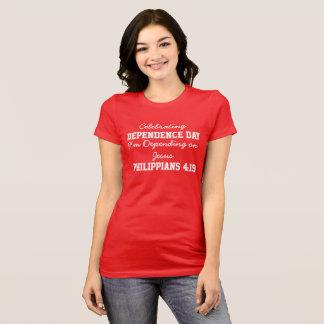 Celebrating Dependence Day women Red Bold T-Shirt