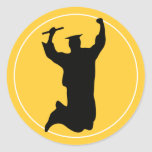 Celebrating Graduate in Cap & Gown Black | Gold Round Stickers