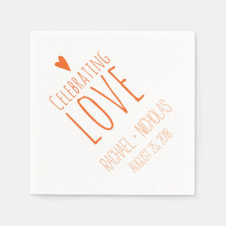 Celebrating Love | Orange Wedding Paper Napkins