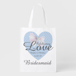 Celebrating Love Romantic Blue Heart Bridesmaid Reusable Grocery Bag
