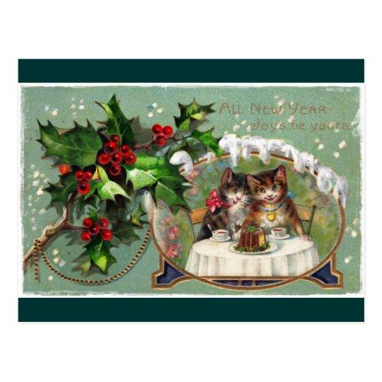Celebrating New Year Kittens Postcard