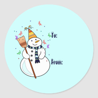 Celebrating Snowman Gift Tag Stickers