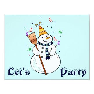 Celebrating Snowman Invitation- Blank Inside Card
