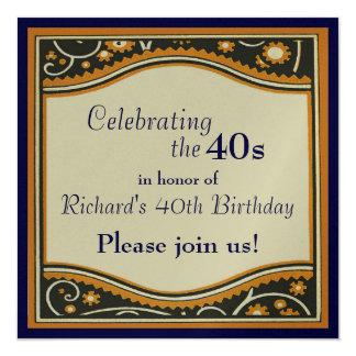 "Celebrating the 40s 5.25"" square invitation card"