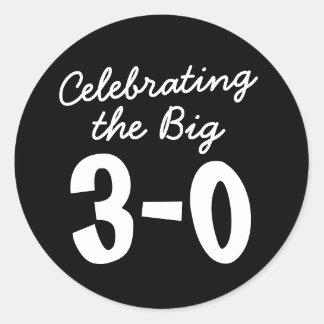 Celebrating the Big 30th Birthday Classic Round Sticker