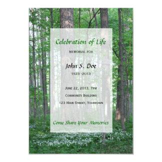 Célébration commémorative de la vie - scène de carton d'invitation  12,7 cm x 17,78 cm
