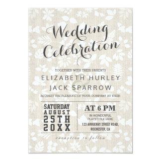 Célébration de toile florale élégante de mariage carton d'invitation  12,7 cm x 17,78 cm