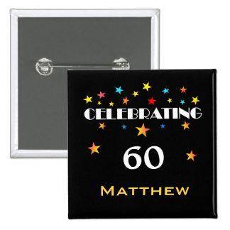Célébration d'un bouton carré de soixantième macaron carré 5 cm