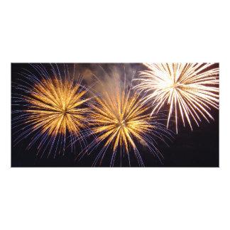 Celebration firework customized photo card