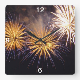 Celebration firework square wall clock