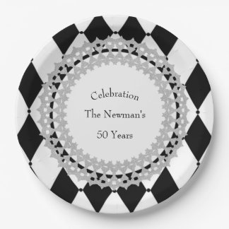 Celebration_Harlequin_Silver_Shield-Wreath Paper Plate