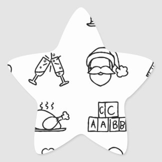 Celebration Holiday or Gift Hand Drawn Icon Set Star Sticker