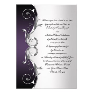 Célébration noire pourpre fleurie de noces d argen invitations personnalisées