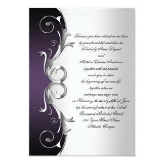 Célébration noire pourpre fleurie de noces carton d'invitation  12,7 cm x 17,78 cm