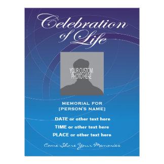 Celebration of Life Blue Circles Invitation Flyer