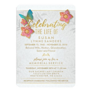 Celebration of Life Floral Butterfly Invitation