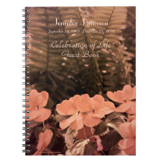 Celebration of Life Guest Book, Pastel Flowers Notebook